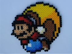 Cape Mario Super Mario World Perler Bead Sprite by warpwhistle