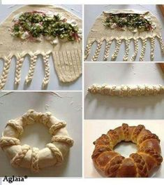 Make a basic bread dough, add fillings, braid up like photo. Buffet Party, Bread Recipes, Cooking Recipes, Healthy Recipes, Pan Relleno, Bread Art, Bread Shaping, Braided Bread, Cuisine Diverse