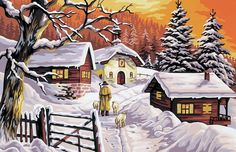 A snowy landscape in the evening with a shepherd and sheep. Tent Stitch, Tapestry Kits, Watercolor Art Paintings, Paris, Sheep, Scenery, Cross Stitch, The Incredibles, Landscape