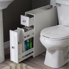 Bathroom Floor Slim Storage Cabinet Space Saver Organizer Drawer Narrow White