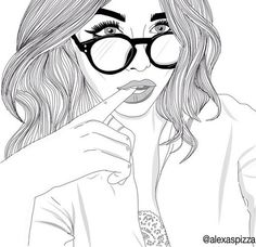 outline, drawing, and glasses image