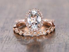 Aquamarine Ring Bridal Set 6x8mm Oval Cut by kilarjewelry on Etsy