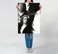 Visit my Shop to use this coupon code for 20% off: XMAS16 --- Until 7th December 2016. --- LARGE wall ART Lady Raven art PRINT of a pencil drawing surreal home decor surrealism poster black and white drawn raven poster by DrawingIllustration