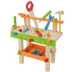 Hier können kleine Handwerker richtig loslegen. An der Eichhorn Werkbank findet alles seinen Platz: Die Säge, der Hammer, der Schraubenschlüssel und viel weiteres Zubehör wie Schrauben, Muttern und Verbindungselemente. Im unteren Ablagefach sind Kleinteile gut verstaut. <br /> Fördert die Motorik und Kreativität Ihres Kindes und auch der Papa wird seinen Spaß haben, wenn seine handwerklichen Fähigkeiten nachgeahmt werden.<br /> <br /> +++Details+++<br &#x2...