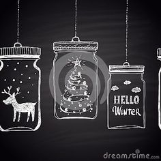 Chalk Drawn White Horizontal Border With Christmas Tree, Clouds, Text, Snow And Deer In A Jar. Happy New Year Theme. Stock Vector – Illustration of clouds, card: 62089200 - Modern Christmas Window Decorations, New Years Decorations, Christmas Tree Themes, Christmas Art, Xmas, Chalkboard Designs, Chalkboard Art, Window Markers, Christmas Chalkboard