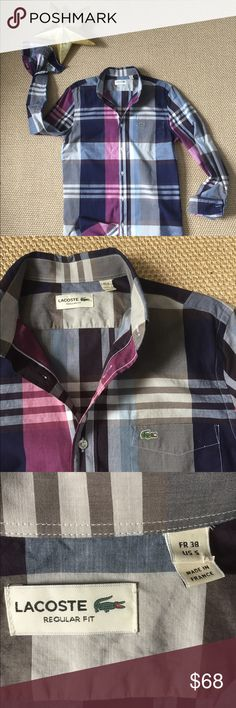 "Men's Lacoste Button Down Shirt Get a gold ⭐️ for the perfect date night shirt. Men's purple, blue and gray Button Down shirt in size 38 Lacoste  (size small)  in ""like"" new condition. Lacoste Shirts Casual Button Down Shirts"