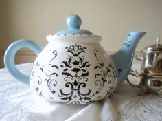 Large Gypsy Flourish Teapot, Antique Black and Duck Egg Blue
