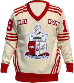 The ALL NEW Kappa V-Neck Wool Varsity Letterman Sweater available now in time for the holidays! This Kappa Alpha Psi Sweater features wool and chenille lettering throughout. This is our heaviest sweater made. Krimson and Kream. GET IT NOW!