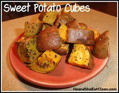 Clean Eat Recipe :: Sweet Potato Cubes #eatclean #cleaneating #heandsheeatclean #recipe #sweetpotato