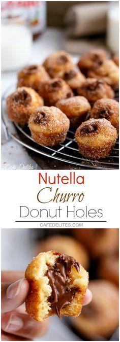 Nutella Churro Donut Holes   http://cafedelites.com