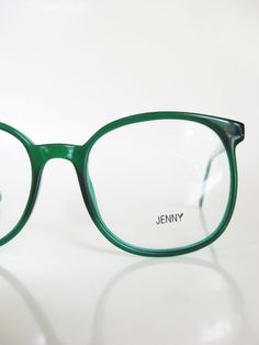 1970s Round Emerald Green Eyeglasses Sunglasses Oversized Clear Forest Womens Ladies 70s P3 Round Huge Geek Chic Sunnies Deadstock NOS Indie
