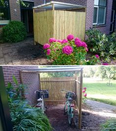 DIY bamboo bike shed. Paper Flowers Wedding, Paper Flowers Diy, Flower Bouquet Wedding, Bamboo House, Bamboo Garden, Outdoor Bike Storage, Diy Fidget Spinner, Craft Shed, Build Your Own Shed