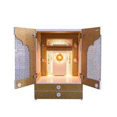 Designer Wooden Mandir with Doors / Pooja Mandir with Shutters and Jali