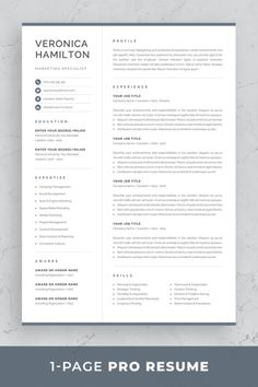 Resume template Veronica is the perfect choice for creating a professional job application. Includes resume, cover letter and references templates in matching designs for a consistent presentation…More Template Cv, One Page Resume Template, Modern Resume Template, Creative Resume Templates, Cover Letter For Resume, Cover Letter Template, Letter Templates, Cover Letters, Resume Tips