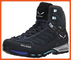 Salewa Women's WS MTN Trainer Mid GTX Hiking Shoe, Carbon/River Blue, 9.5 M US - Outdoor shoes for women (*Amazon Partner-Link)