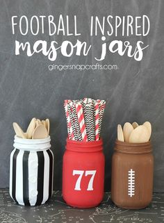 Football inspired mason jars at GingerSnapCrafts.com #football #masonjars