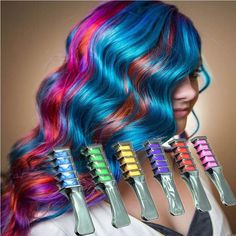To remove hair chalk from your hair, shampoo your hair the chalk will be washed out. Fashion Design Crayons Hair Color Mascara Dye Hair Color Chalk With Comb Temporary Hair Mascara Multicolor Dye. Color Your Hair, Hair Dye Colors, Hair Mascara, Dying Your Hair, Temporary Hair Color, Hair Chalk, Dark Hair, Blonde Hair, New Hair