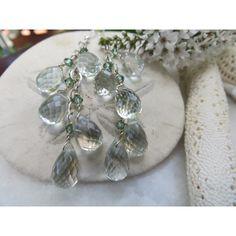 Green Quartz Earrings, Briolette Earrings, Sterling Silver Earrings,... ($28) ❤ liked on Polyvore featuring jewelry, earrings, gem jewelry, chains jewelry, gemstone jewelry, gemstone earrings and green amethyst earrings