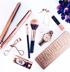 Rose Gold Products, Rose Gold ghd's, Urban Decay NAKED 3 Palette, Zoeva Makeup Brushes, Michael Kors Watch