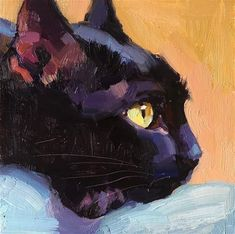 Daily Paintworks - - Original Fine Art for Sale - ©️️ Katya Mi. - Daily Paintworks – – Original Fine Art for Sale – ©️️ Katya Minkina - Black Cat Painting, Cat Drawing, Fine Art Drawing, Art Graphique, Pastel Art, Fine Art Gallery, Animal Paintings, Dog Art, Pet Portraits