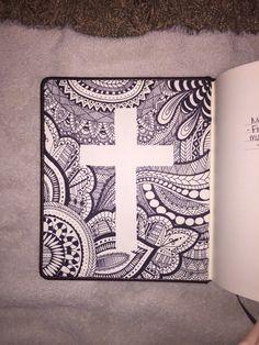 Inside of bible cover cross zentangle