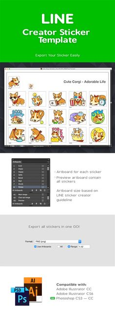 Template for LINE Creator sticker. Must have template for everyone who want to sell sticker at LINE market. Available in Ai & PSD.