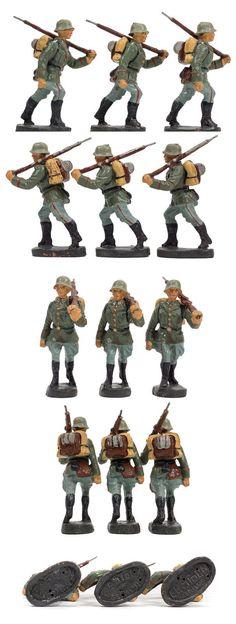 9 Stück ELASTOLIN Massefiguren, 7,5 cm Soldaten Gepäck & Gewehr orig. 30er Jahre | eBay