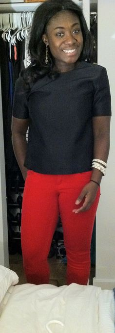 A mod top and red jeans can be a great look for a summer night.