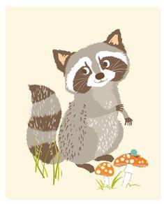 Raccoon wall art - woodland art for kids - nursery wall decor for children, baby…