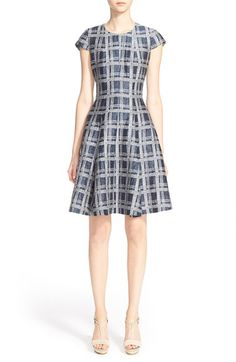 Armani Collezioni Armani Collezioni Check Print Linen & Cotton Blend Fit & Flare Dress available at #Nordstrom