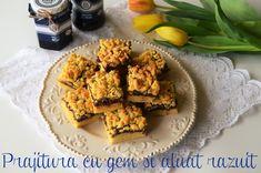 Prajitura cu gem si aluat razuit - o reteta clasica de prajitura de casa.