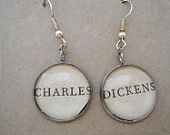 SALE- Book page earrings, Literary earrings, literary jewellery, Charles Dickens earrings, book earrings, upcycled earrings