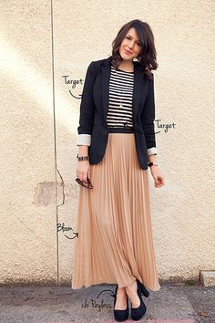 Blazer+stripes+long pleated skirt..@erin wells So this is what u could wear w/ that skirt:)