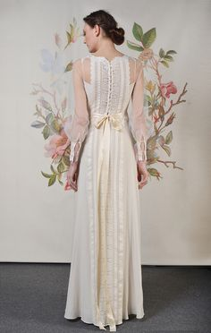 Claire Pettibone's Decoupage Collection (back shot of the Delaney gown with sheer, 70's inspired sleeves