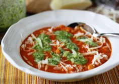 """Tomato-and-pesto soup with rice and beans (gluten-free, can be dairy-free, veg(etari)an); featured in week 49 of """"Everyday Mediterranean."""" For information & subscriptions: http://nutrelan.com/everyday-mediterranean-meal-plan-how-it-works/."""