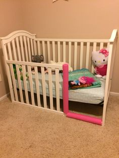 Toddler Bed From Crib. Pool Noodle Repurpose For Safety.
