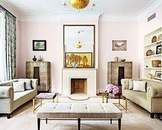 Step Inside a Well-Balanced New York Mansion//symmetrical design, pink living room
