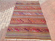 Stripped Kilim rug stripped area rug 106 x 58 by PocoVintage