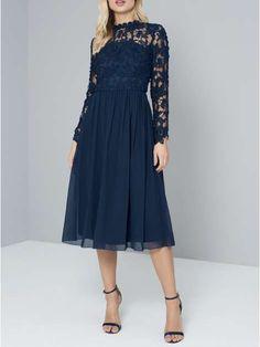 Chi Chi London Crochet Bodice Midi Dress - House of Fraser 2cfb8a0e8