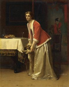 Florent Willems - An Elegant Lady with Her Dog in an Interior #Art