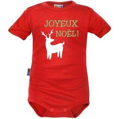 Body bébé Noël  : JOYEUX NOËL (m. courtes ou longues, 9 coloris)