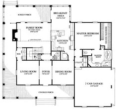 Country Style House Plan - 4 Beds 3.5 Baths 2910 Sq/Ft Plan #137-216 Main Floor Plan - Houseplans.com