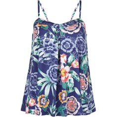 Monsoon Marissa Print Cami Top (656.750 IDR) ❤ liked on Polyvore featuring tops, blue cami, flower print top, camisole tank, camisole tank tops and blue camisole