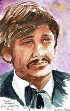 5x8 study from a publicity portrait of Charles Bronson.  Background is Acrylic Ink, the rest gouache.