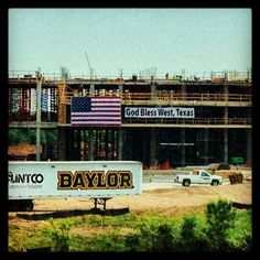 The sign at #Baylor Stadium (still under construction) speaks for all of us today. #GodBlessWest (photo via @BUFootball)