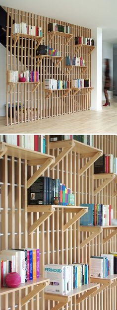 French designer Alexandre Pain created Rossignol, a custom designed wood shelf and railing system that can be used to store books and act as a guard rail for the staircase.