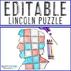 EDITABLE President Lincoln Puzzle - Create your own activity on ANY topic! | 1st, 2nd, 3rd, 4th, 5th, 7th, 8th grade, Activities, English Language Arts, Fun Stuff, Games, Homeschool, Math, Middle School, Presidents' Day