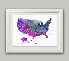United States Map Wall Decor.166 Best Map Wall Art Images In 2019 Watercolor Print Art World