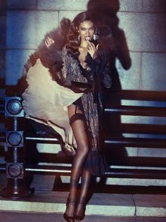 Chanel Iman in Tom Ford by Alexi Lubomirski for Wonderland Magazine. Styling by Anthony Unwin.