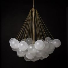 Pop some bubbly with your guests below this dreamy chandelier! Gold and modern chandelier with glass balls that will light up your home. Interior Lighting, Home Lighting, Lighting Design, Studio Lighting, Apparatus Lighting, Pendant Lighting, Light Pendant, Studio Cloud, Ceiling Lamp
